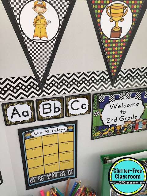 Are you planning a racing themed classroom or thematic unit? This blog post provides great decoration tips and ideas for the best racing theme yet! It has photos, ideas, supplies & printable classroom decor to will make set up easy and affordable. You can create a racing theme on a budget!