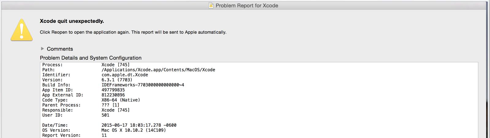 XCode Crash During Upload Causes Issue With TestFlight | inCaffeine