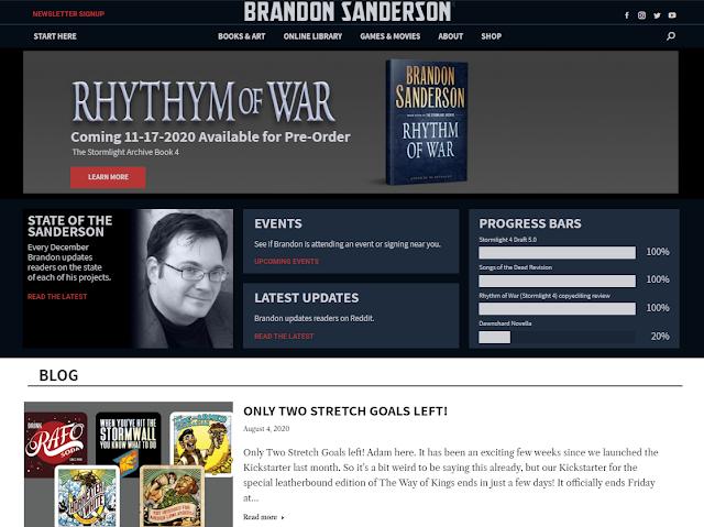 Ejemplo de web de escritor Brandon Sanderson