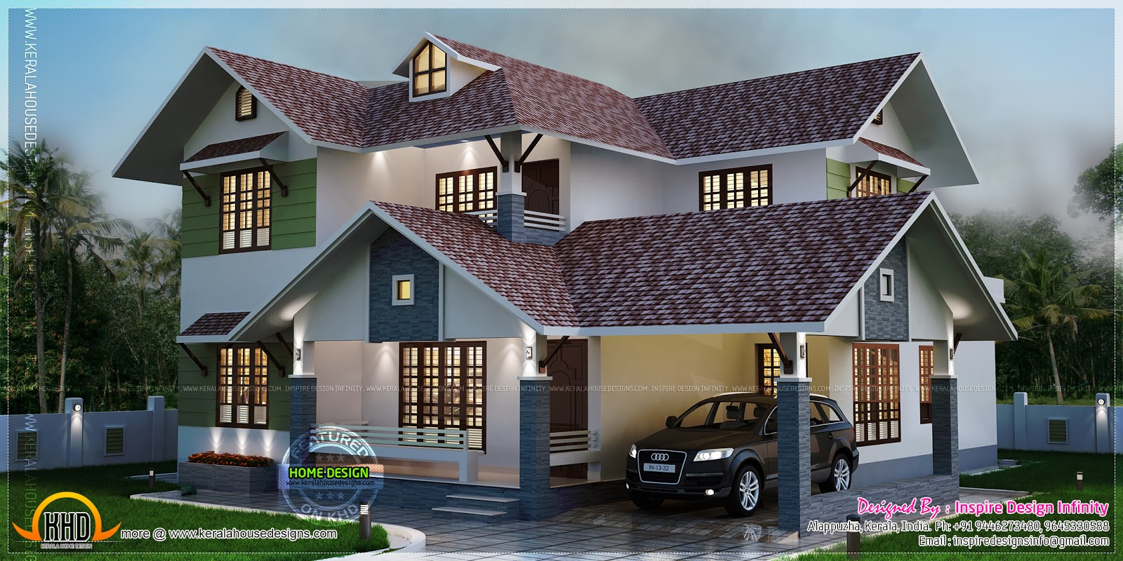 Night View Rendering Of A Beautiful Home Kerala Home