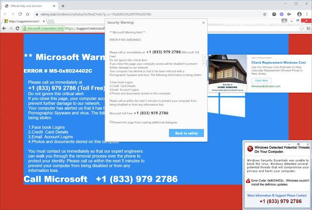 Ndmrj.club pop-ups (Soporte falso de Microsoft Scam)