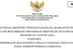Penerimaan Mahasiswa/ Praja/ Taruna Sekolah Kedinasan berdasarkan Permen PANRB No. 20 Tahun 2021