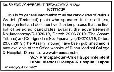 Diphu Medical College & Hospital Final Result 2021