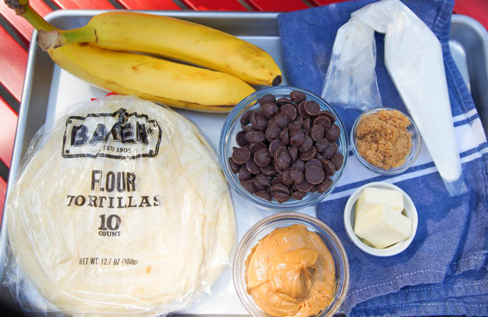 Grilled Peanut Butter and Chocolate Quesadillas with Caramelized Bananas ingredients