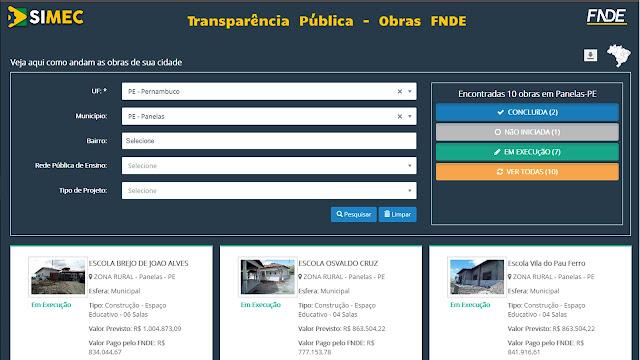 Transparência Pública - Obras FNDE - Panelas-PE