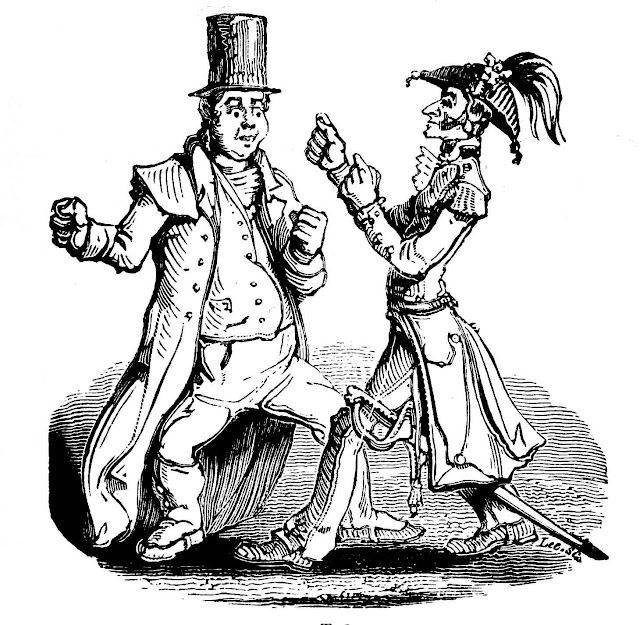 a cartoon by William Makepeace Thackeray of two foolish bumblers fighting