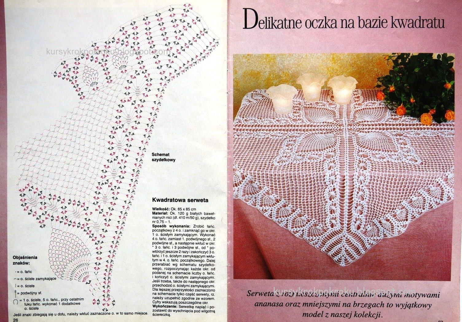Duża serweta na szydełku w delikatne oczka - schemat i opis