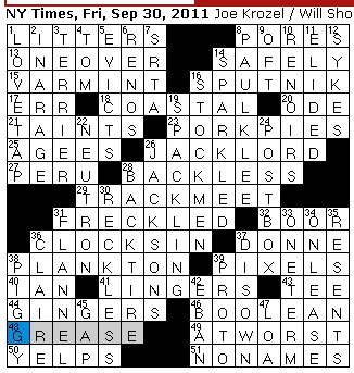 Rex Parker Does The Nyt Crossword Puzzle Many Viviparous Births Fri 9 30 11 Muleta Material Toppers Popular With Jazzmen Wheelie Supporter Natures Lay Idiot I Taught Thee To Love Penner
