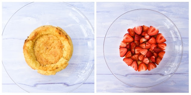 making strawberry trifle, sponge and strawberry layers in glass bowl