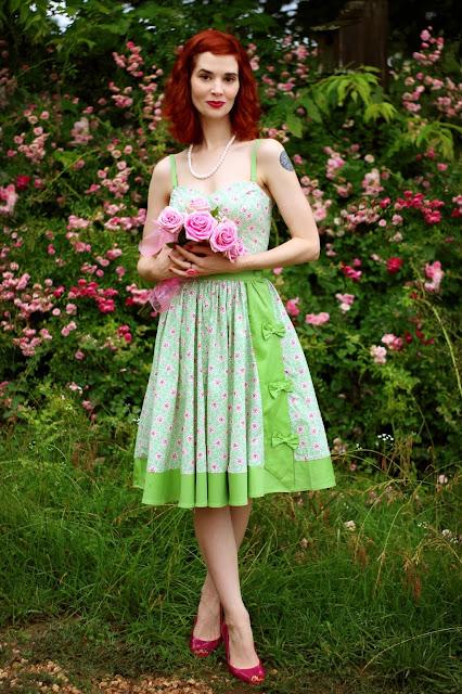 Unique Vintage Mint Green & Polka Dot Floral Ossining Romper and Skirt Set