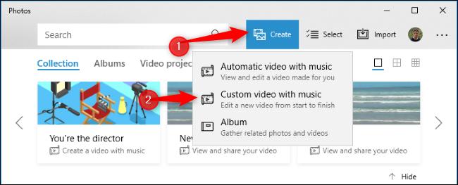 """انقر فوق الزر """"إنشاء"""" وانقر فوق """"فيديو مخصص بالموسيقى""""."""