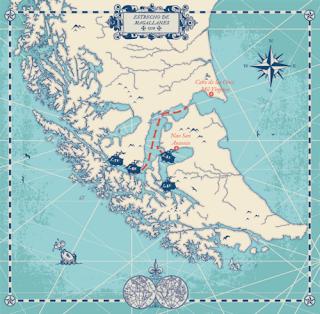 Ruta de la expedición de Magallanes por el sur de Sudamérica