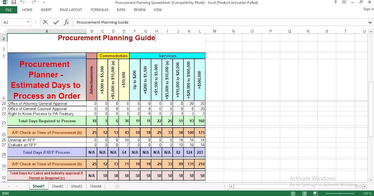 procurement planning excel template