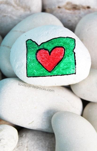 Oregon love painted rock