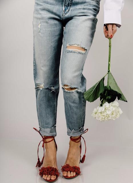 strappy fringe heels