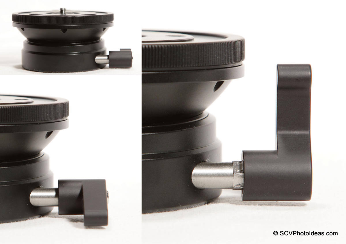 Sunwayfoto DYH-90 lever lock-knob positioning