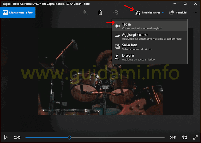 App Foto Windows 10 menu opzione Taglia video