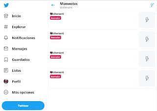 Sección Seleccoión Momentos en Twitter