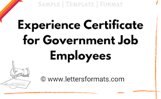 work experience certificate format for government employees