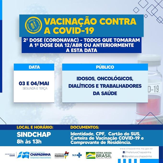 Chapadinha: Vacinação de 2ª dose contra a Covid-19 para idosos que tomaram a 1ª dia 12 de abril