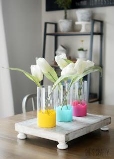 Paint Dipped flower vases