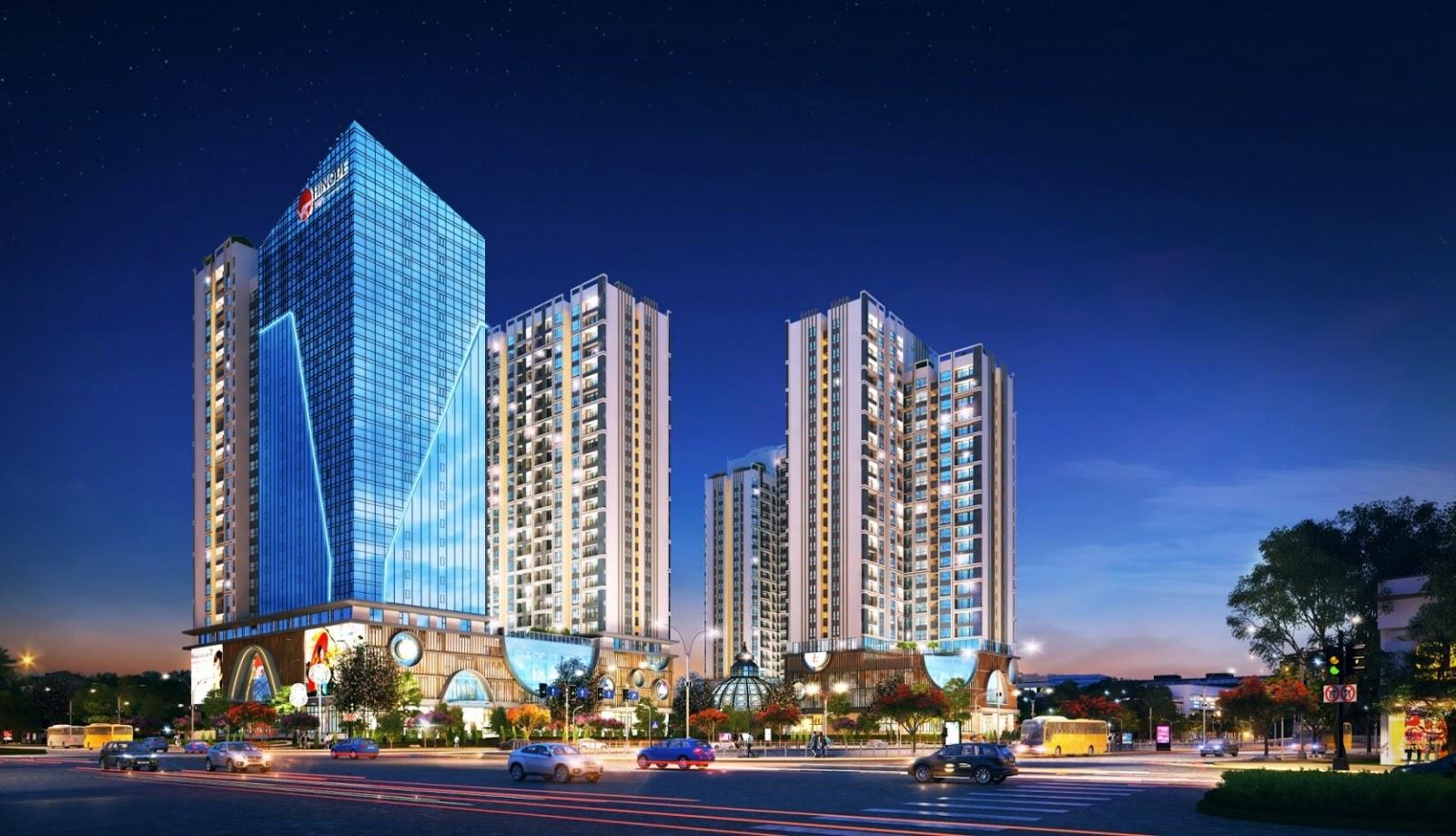Phối cảnh toà căn hộ cao cấp Hinode City