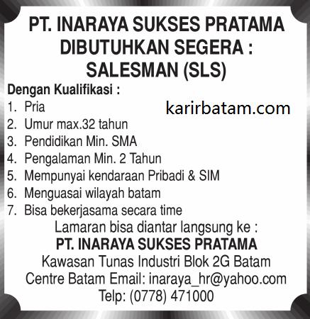 Lowongan Kerja PT. Inaraya Sukses Pratama