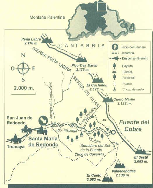 Una senda que permite conocer el nacimiento del río Pisuerga y la Cueva del Cobre