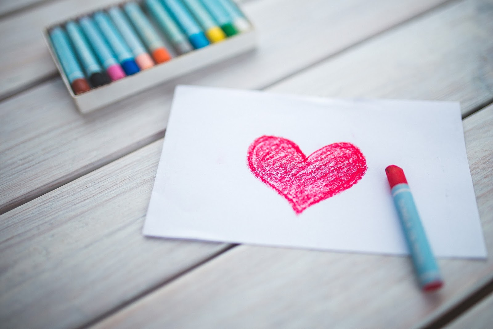 Valentine's gifts for children - crayoned heart on white paper