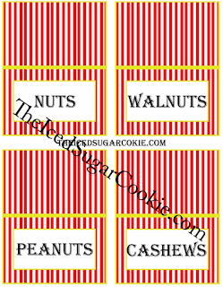Circus Food Cards-Nuts, Walnuts, Peanuts, Cashews