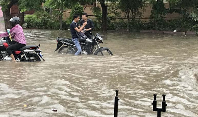 Flooding place in city, heavy rain in Faridabad, 50 percent of people did not go to duty