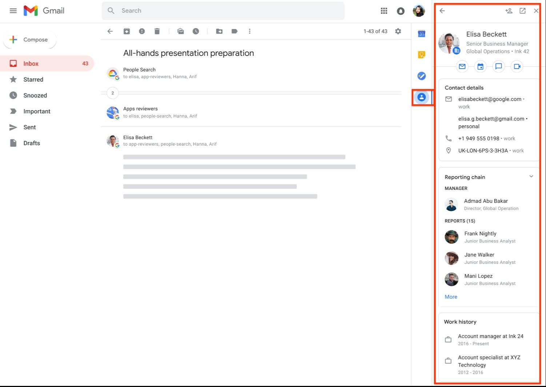 Il pannello laterale di Gmail adesso mostra info dettagliate sui contatti