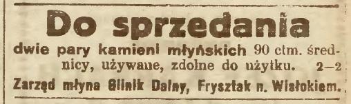 Glinik dolny Frysztak kamienie młyńskie 1921