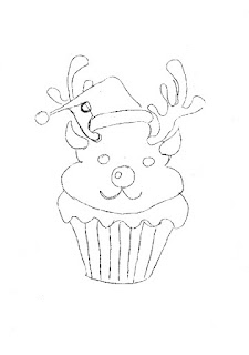risco de cupcake rena para pintar