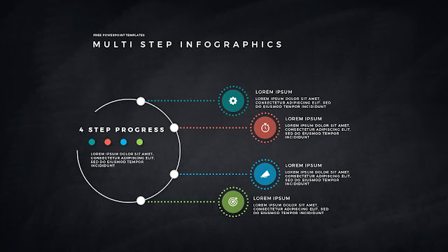 4 Step Circular Progress Infographics for PowerPoint Templates in Dark Background