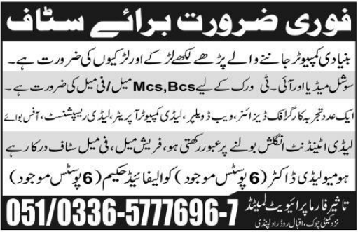 Graphic Designer, Web Developer, Lady Computer Operator, Receptionist Required 12 January 2019