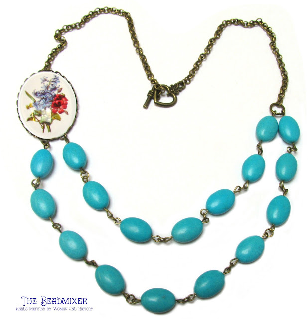 Turquoise howliet vintage stijl ketting