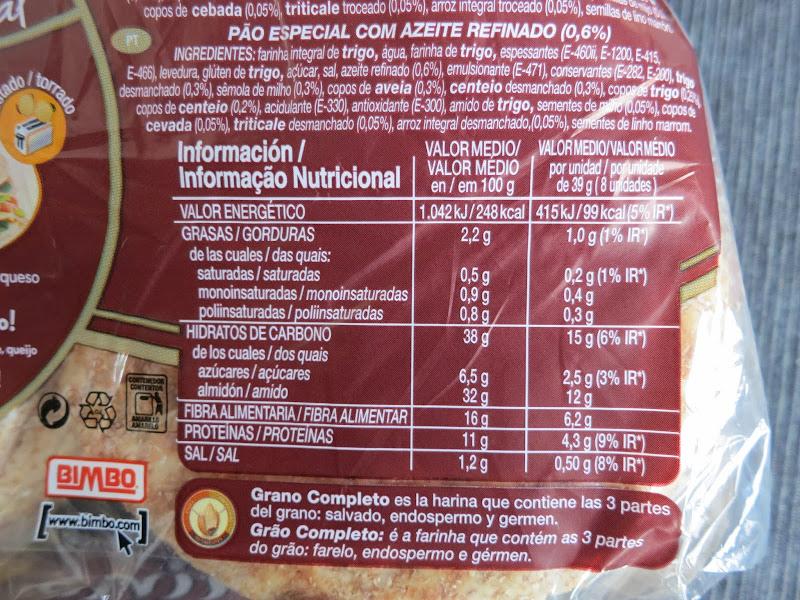 Lista de ingredientes e informação nutricional (clique para aumentar)