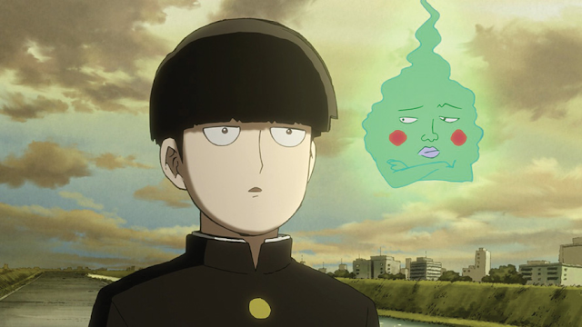 Mob Psycho main character having big eyes like Saitama and silky hair that looks like wig and a floating green ghost with a funny face