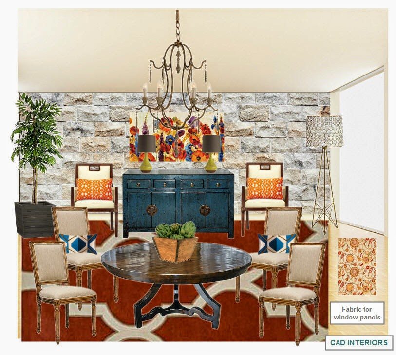 orange blue white cream neutral transitional textured wall dining living space design mood board