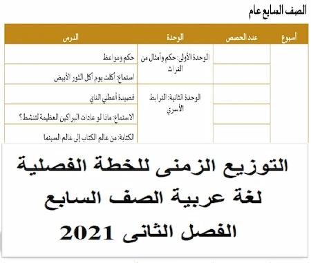 التوزيع الزمنى للخطة الفصلية لغة عربية الصف السابع الفصل الثانى 2021