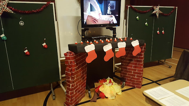 The Fireplace I made for the Relief Society Christmas Party