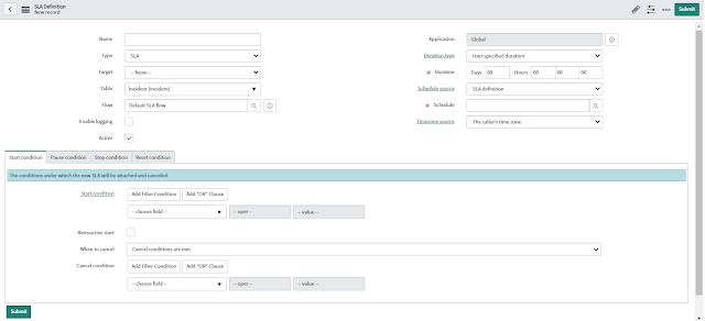 ServiceNow SLA Form