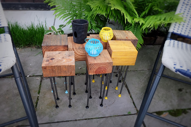 upcycled wood steel nail leg patio coffee table