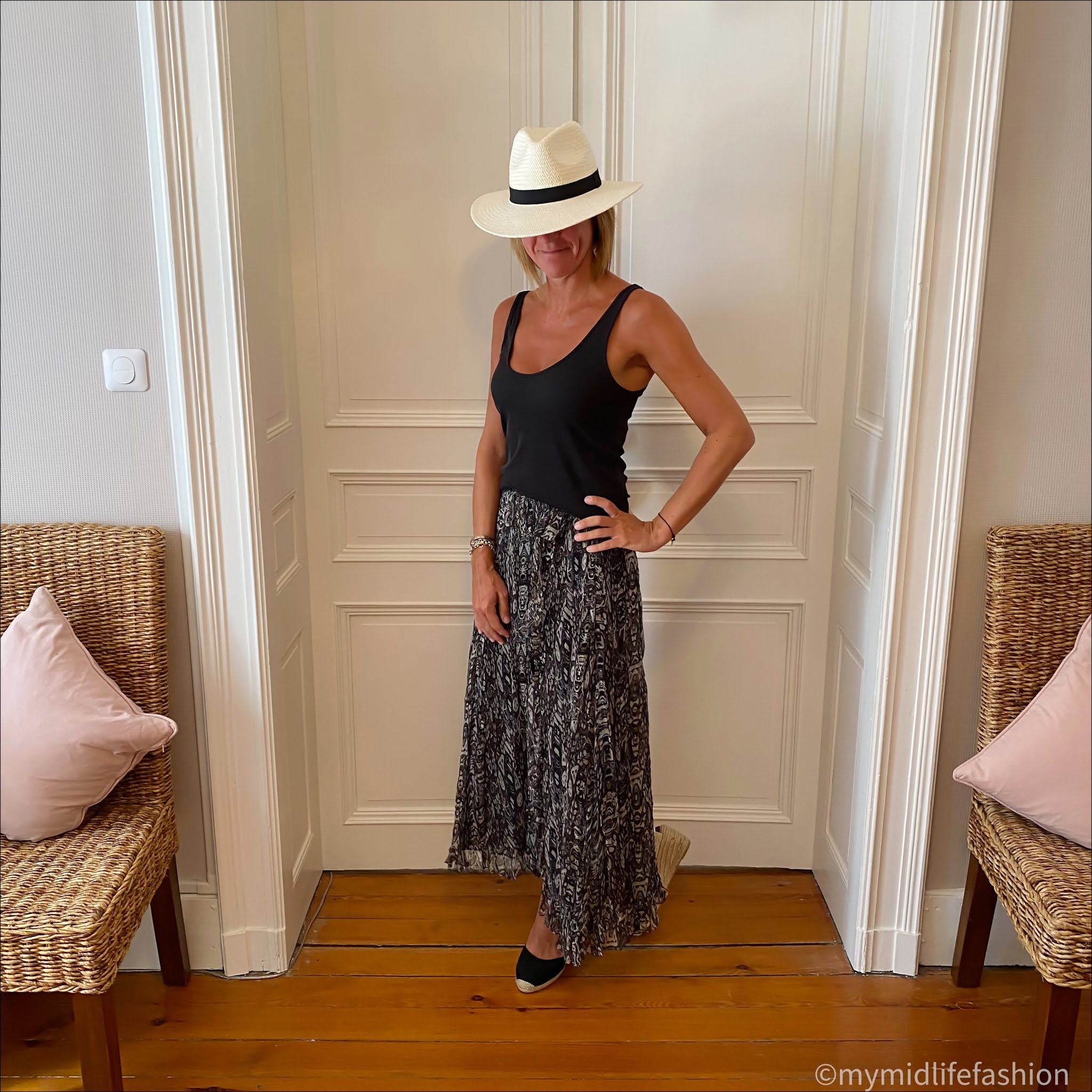 my midlife fashion, zara Panama hat, and other stories ribbed vest top, iro ruffles maxi skirt, boden Cassie espadrille wedge sandals