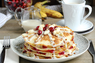 Cranberry Banana Pancakes with  Coconut Syrup