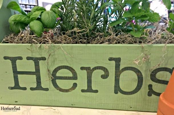 Herb Garden in a Wooden Tote