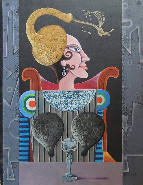 Josep Maria Rovira Brull Pintura surrealista retrato mujer
