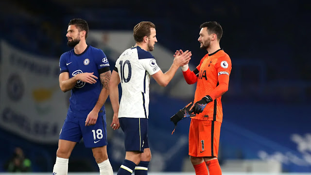 Tottenham duo Harry Kane and Hugo Lloris pictured together during their match against Chelsea in the Premier League