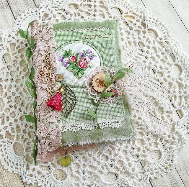 блокнот с розами, блокнот с вышивкой, блокнот ручной работы, текстильная обложка, блокнот скрапбукинг
